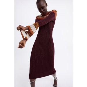 Zara Knit Sweater Midi Dress Flared Sleeve M